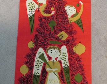 "1950's Linen Tammis Keefe Christmas-Scene Tea Towel 30"" x 16"""