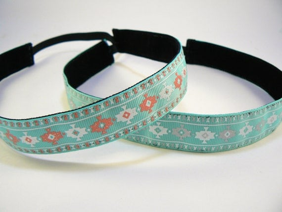 Aztec patterned non-slip headband for everyday and active wear (with coral & white accents)