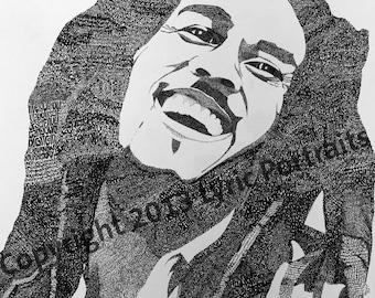Bob Marley Hand-drawn Portrait out of Lyrics