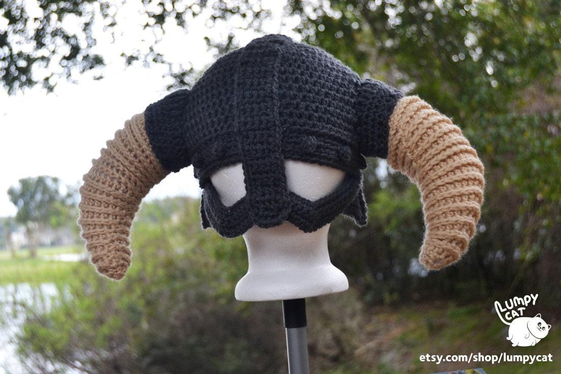 Made to Order Crochet Skyrim-Inspired Viking Iron Helmet with