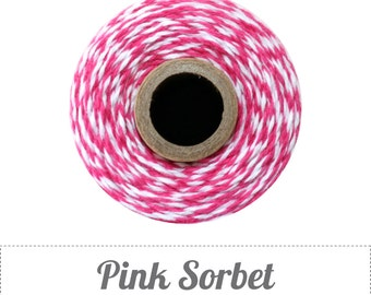 10 yards/ 9.144 m Pink Sorbet / Pink and White Twine, Bakers Twine, Wedding DIY