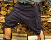 Afghani Shorts (Black) - Pants Goa Thick Fabric Stylish Psytrance Party Comfortable Loose Festival Men