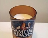 New! Upcycled Sam Adams Boston Lager Beer Bottle Beautiful All Natural Soy Candle