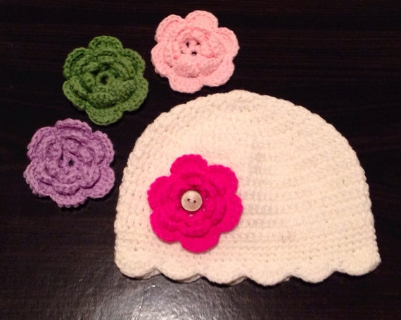 Interchangeable Crochet Flower Pattern : Items similar to Interchangeable Girl Flower Hat, Crochet ...
