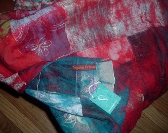 SALE! Iconic Textile artist *Sophie Prieur handmade felted shawl/blanket~One of a kind!!! with tag