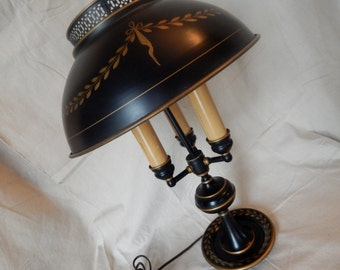 Black Toleware Side End Table Lamp with Three-Light Arms and Toleware Shade