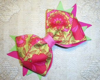 Hot Pink and Apple Green Floral Bow