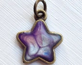 RESERVED for Catherynne Baby Hand Painted Bubble Effect Star Charm, Artisan Resin Filled Antique Bronze Base Matching Painted Back. Purple
