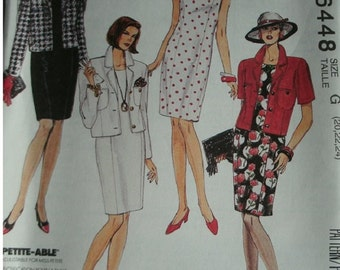 Misses Unlined Jacket and Sleeveless Dress Sizes 20-22-24 EASY McCalls Pattern 6448 Petite-able Excellent Condition UNCUT Pattern 1993