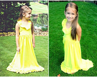Girls Yellow Maxi Dress // Long Dresses For Girls // Girls Maxis - Lots Of Colors