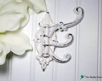 Shabby Chic Wall Hook/French Country/Coat Hook/SSLID0120/Victorian Hook/Multi Hook/Ornate Hook/Distressed/French Country/Cottage/Towel Hook