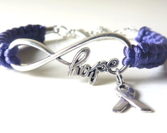 Purple Awareness Ribbon HOPE Charm Bracelet Pancreatic Cancer Alzheimers Dementia Crohns Disease Domestic Violence Foster Care Sarcoidosis