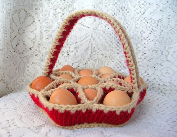 Crochet Bakers Dozen Egg Carrying Basket, Egg Caddy, Egg Carton - Red ...