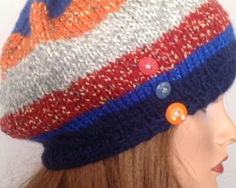 Hand Knit Hat Beanie Beret Slouch Designer Fashion Multicolor Fall Winter Ski Snowboarding Hip