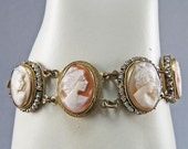 Vintage Shell Cameo Bracelet Carved Cameo Jewelry 1930s Jewelry Vintage Jewellery