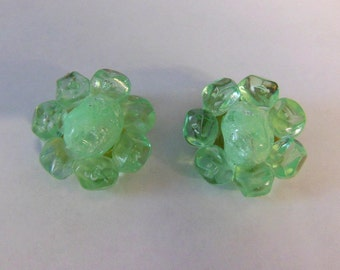 Vintage Coro Lime Green Flower Clip on Earrings