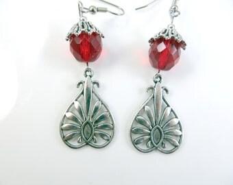 Fancy red earrings
