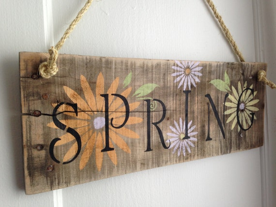 Distressed Natural Rustic Spring Hanging Sign With Flowers