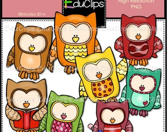 Fall Owls Clip Art Bundle (Color and B&W)