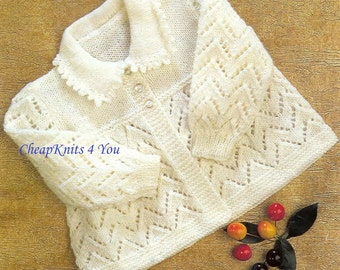 Baby Collared Cardigan / Jacket Instructions for  4 ply  for sizes 18 and 19 Inches -PDF of a Vintage Knitting pattern- Instant Download