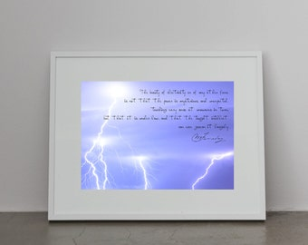 Science art - Physics - Faraday quote with lightning electricity fields - A4 poster