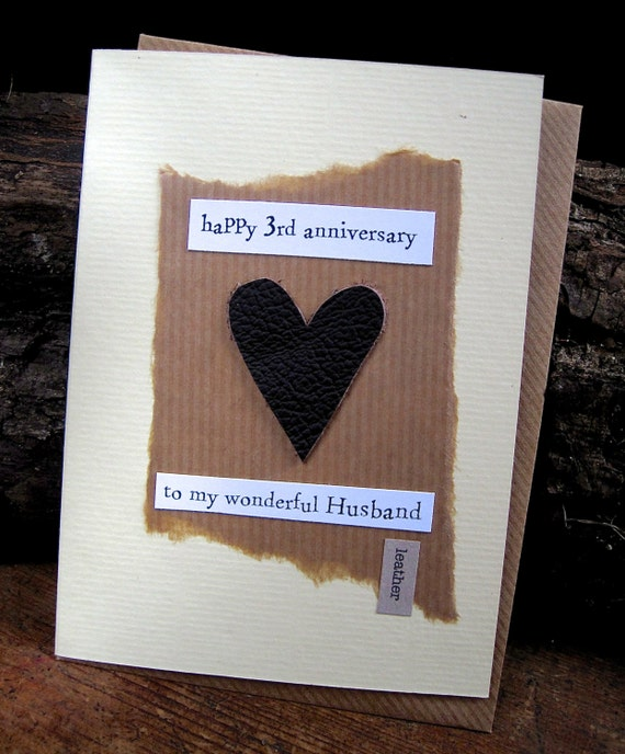 3rd Wedding Anniversary Traditional Gift: 3rd Wedding Anniversary Card LEATHER Husband Traditional