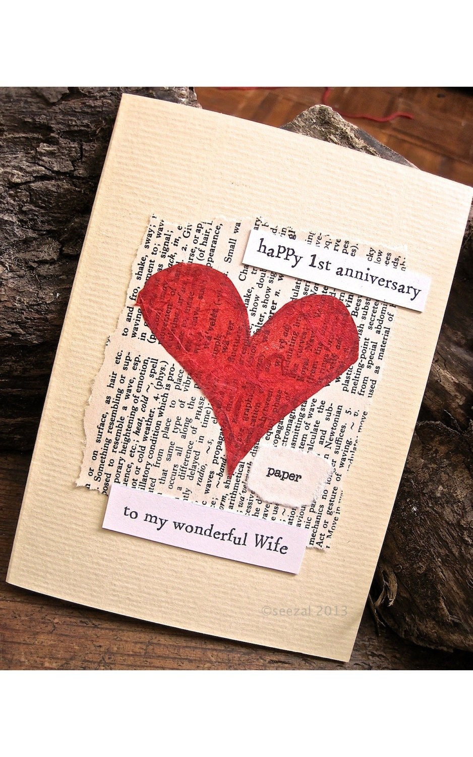 First wedding anniversary card paper vintage book page with
