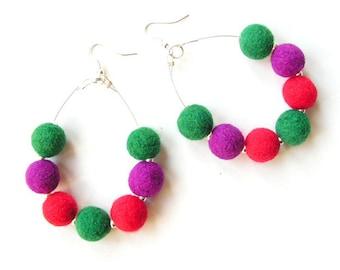 Felted earrings felt earrings green purple red felt wool earrings felted balls spring gift