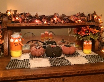 Lighted Silicone Tipped Primitive Homespun/Burlap Fall Rag Garland *SHIPS Within 3 Days!