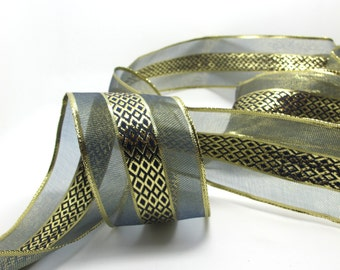 2 Yards 2 9/16 Inches Christmas Gold Wired RibbonTranslucent Shiny Wired Ribbon|Christmas Deco|Gift Wrap|Home Deco|Embellishment|Shinny Gold