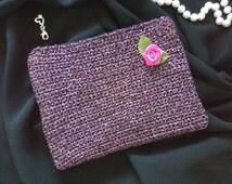 Evening Pochette Bag Handmade Crochet Cotton Lurex
