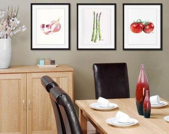 Vegetable Print Set of 3 - 8x10 Watercolor Paintings, Vegetable Watercolors, Kitchen Decor, Veggies, Print Set, Botanical Print, Veggie Art