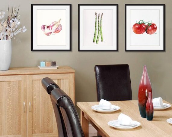 Vegetable print set of 3 8x10 watercolor paintings for 8x10 kitchen designs