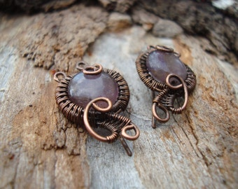 Antique copper wire weaved compact earrings with Amethyst gemstone