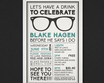 Printable Bachelor Party Invitation - Wayfarer - The Biko Collection