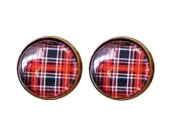 Red Plaid Earrings, Plaid Pattern Earrings, Red and Black Earrigngs, Check Pattern, Party Nightclub Earrings, Street Fashion Earrings