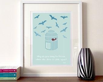 Rumi quote, Illustration quote print, illustrated quote, birds illustration, bird cage print, Rumi art, typography print, literary quote