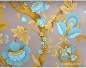 Genuine 50s 60s Turquoise Chrome yellow Art Nouveau style  vintage floral wallpaper 1yard