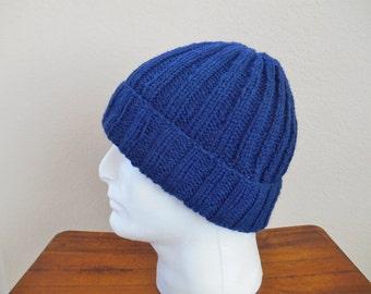 Hand Knit Wool Hat - Men's Wool Hat - Watchman's Cap - Blue Ribbed Wool Hat - Christmas Present for Men - Wool Ski Hat - Wool Beanie