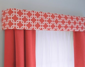 Coral Geometric Cornice Board Valance Window Treatment - Modern Custom Valence Box Curtain Topper