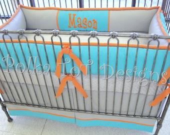 3 piece Color Block Crib Set