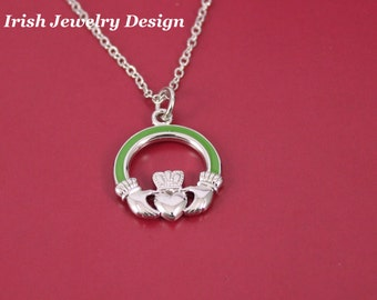 Reversible Platinum plated claddagh necklace
