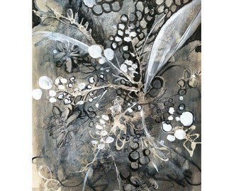 Mixed media abstract flower drawing
