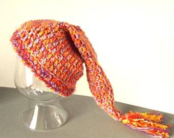 Crochet Elf Hat, Ladies Teens, Ski Outdoor Activities Cap, Orange, Pink, Lavender, Woodland Fairy Pixie
