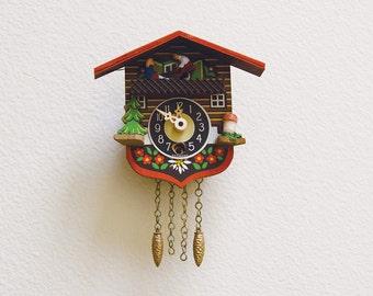 Vintage Small West German Cuckoo Clock Mechanical Wall