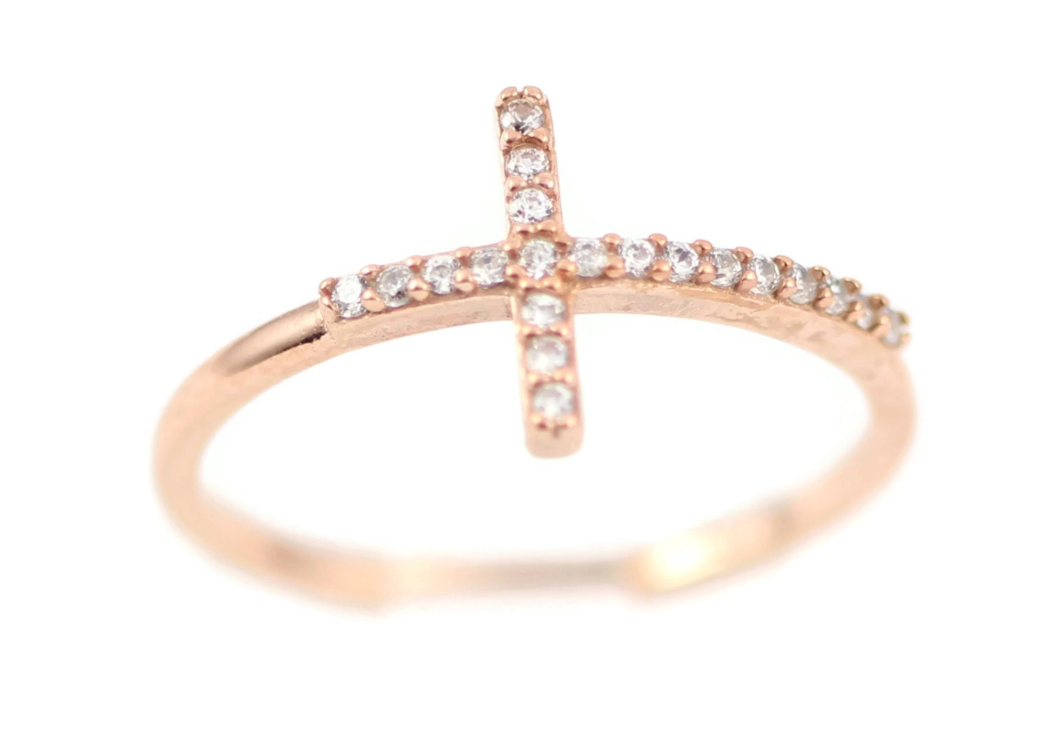 sideways cross ring sterling silver gold plated