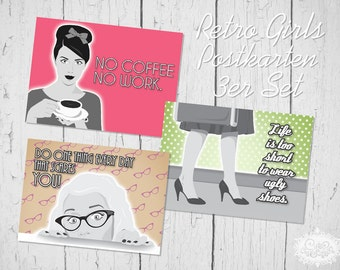 "cute as a button ""Retro Comic Girls II"" Postkarten 3er-Set"