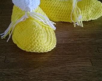 Lemon Meringue  Crochet Slippers, Size XL