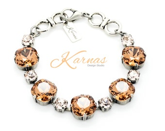 CHOCOLATE SILK 12mm/6mm Crystal Cushion Cut & Chaton Bracelet Swarovski Elements *Antique Silver *Karnas Design Studio *Free Shipping*