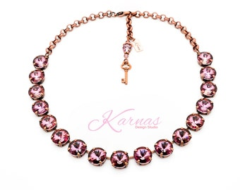 CRYSTAL ANTIQUE PINK 12MM 3/4 Necklace Made With Swarovski Crystal *Choose Your Finish *Karnas Design Studio™ *Free Shipping*